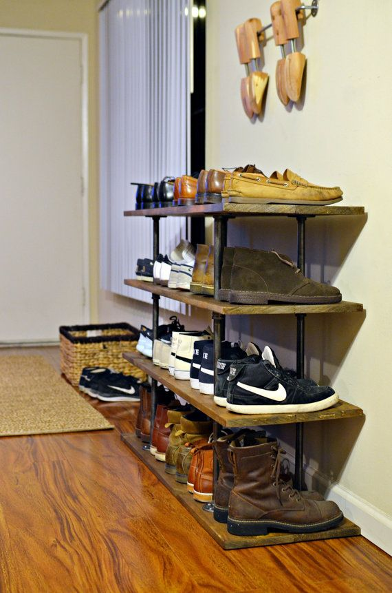 Industrial Pipe and Wood Shoe Rack by JHcraftsLA on Etsy