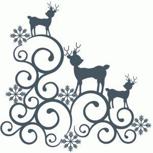Silhouette Design Store - View Design #71520: reindeer swirl corner flourish