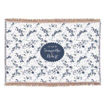 Indigo Blue Clematis Floral design personalized Throw Blanket - romantic wedding love couple marriage wedding preparations