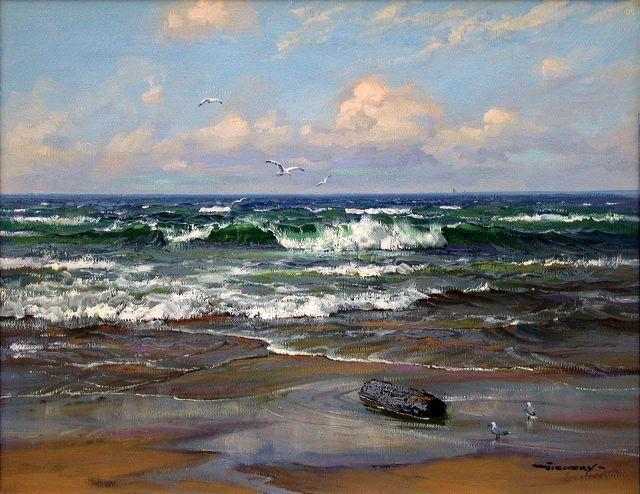 """Shoreline Breakers""  16"" x 20"" Oil on Canvas"
