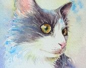 White and Grey Cat painting art print