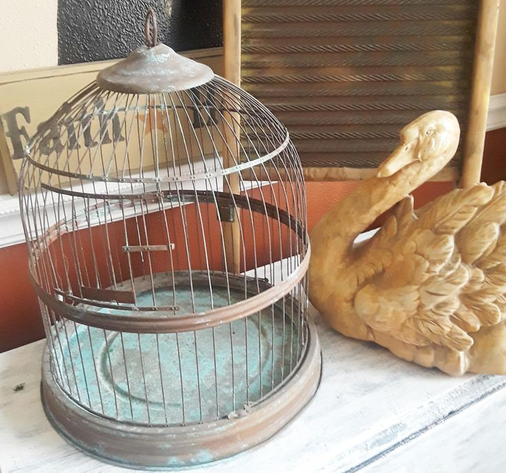 Wire Bird Cage, Hendryx Cage,  brass or bronze aged color, retro bee hive bird cage, vintage bird cage, rustic bird cage, copper bird cage. by TheAtticShelf on Etsy