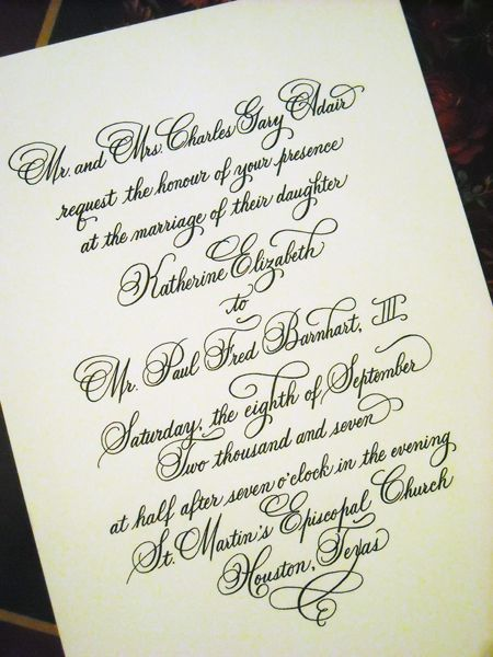 Wedding invitation designed in hand calligraphy