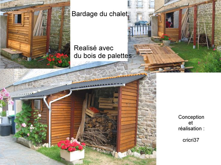 Outdoor cottage with pallets for siding.   Réalisation d'un chalet avec des palettes pour le bardage.   #Garden, #PalletHut, #PalletsWall, #RecycledPallet, #Wood