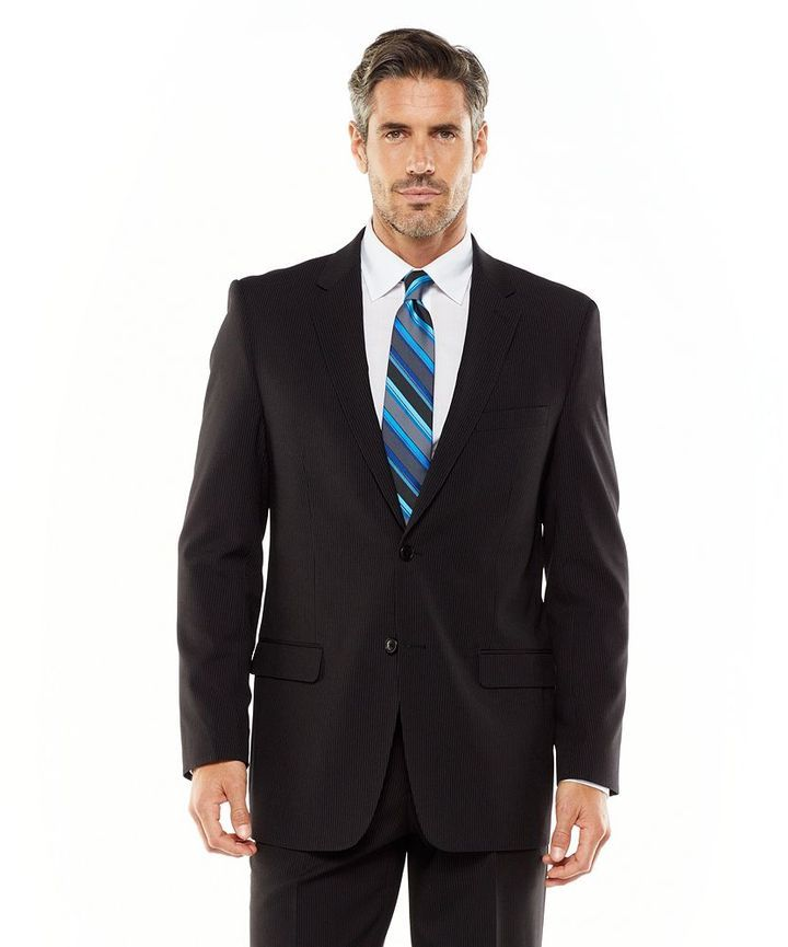 $99, Adolfo Classic Fit Striped Charcoal Suit Jacket. Sold by Kohl's. Click for more info: https://lookastic.com/men/shop_items/41046/redirect