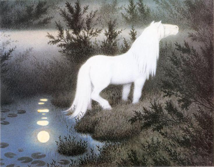 Nøkken Som Hvit Hest (The Nix As a Brook Horse), 1909 - Theodor Kittelsen