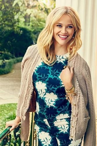 Reese Witherspoon wearing Draper James Draper James Nashville Top, Draper James Printed Knoxville Pant, Draper James Flora Vneck Fringe Cardigan and Draper James Assorted Charm Bracelet
