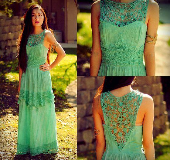 Jennifer Wang - I Made It! Mint Maxi Dress, Starfish Cuff