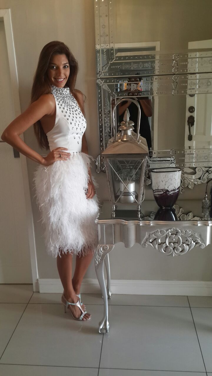 All White, with crystals and Feathers, worn by Soula for the opening of Sa Fashion week
