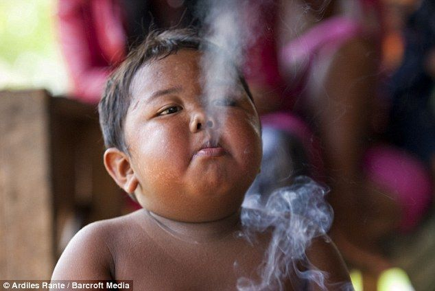 Two year old kid from Indonesia on 40 cigarettes a day... ???   What have the tobacco industry done to the world?
