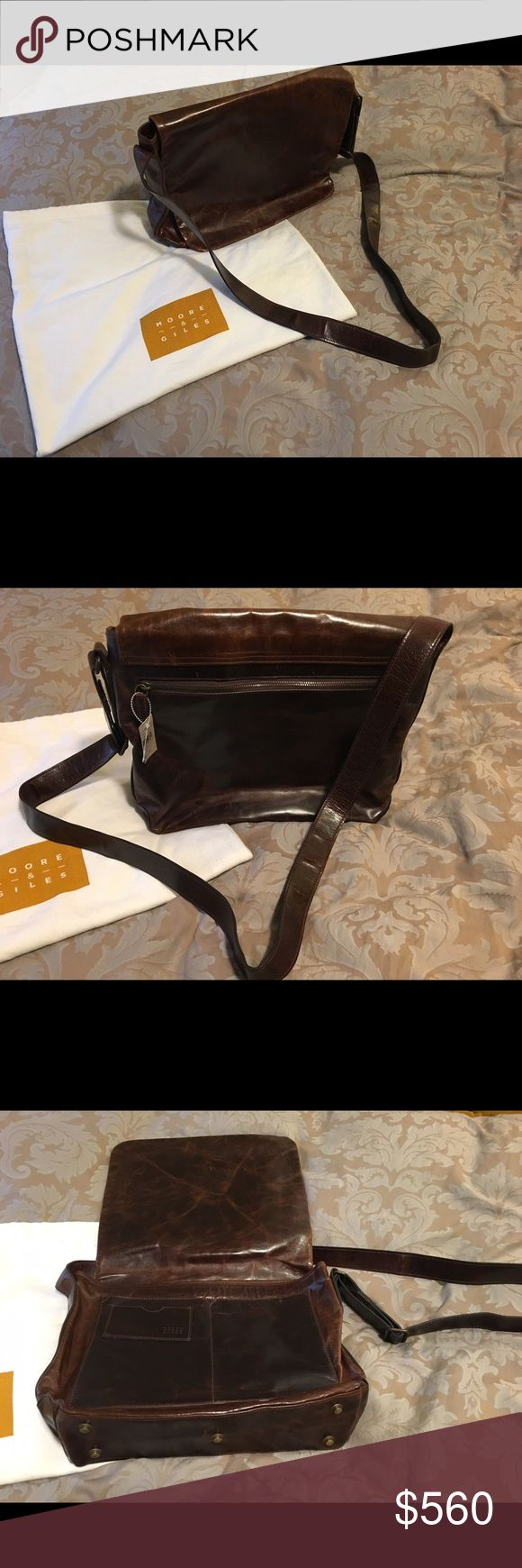 """NEW Moore & Giles Men Messenger Bag New with tags. Never been used Browpton Brown messenger bag. Dimensions 15.5""""L x 11""""H x 4""""W weights 3pounds. Pockets on the front and side of bag for bunkers cards or cell phones. Two internal zipper pockets flank the main compartment. Perfect condition with duffle bag! Great gift! Real Italian leather! Moore & Giles  Bags Briefcases"""