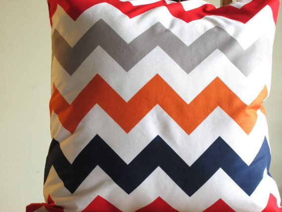 Red Grey Orange Navy Blue Chevron Pillow Throw By