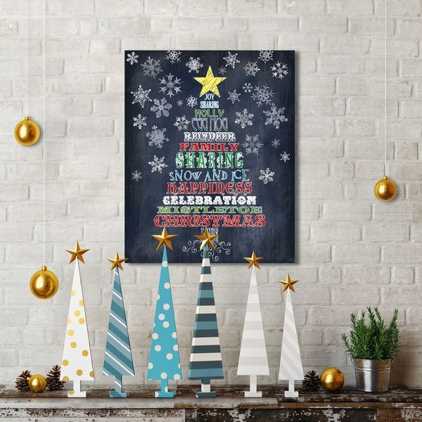 Portfolio Canvas Decor Studio Voltaire 'Christmas Word Tree' 16-inch x 20-inch Canvas Print Holiday Wall Art