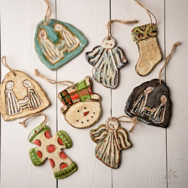 Don't let the beauty of Etta B end with your table--trim your tree with our  favorite little handmade pottery ornaments! These darling ornaments make  the ...
