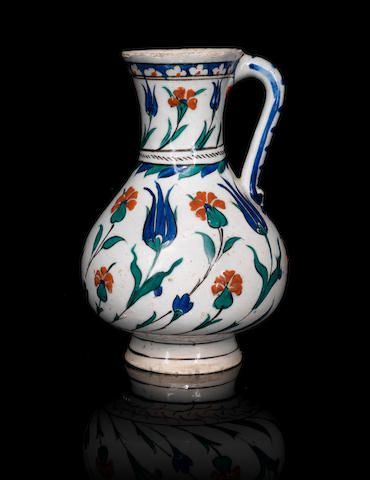 Iznik pottery Jug Turkey, circa 1580 21.5 cm. high