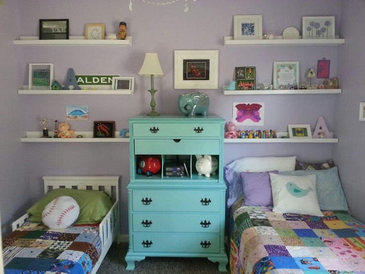 Boy girl shared bedroom still need to paint the walls for Brothers bedroom ideas