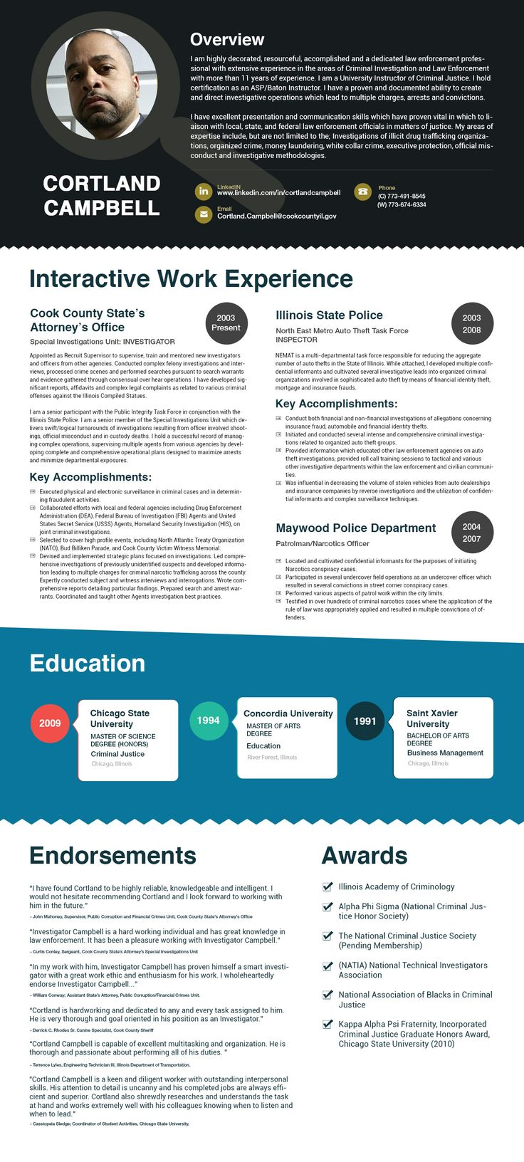 #Infographic #resume Cortland Campbell is highly decorated, resourceful, accomplished and a dedicated law enforcement professional with extensive experience in the areas of Criminal Investigation and Law Enforcement with more than 11 years of experience.
