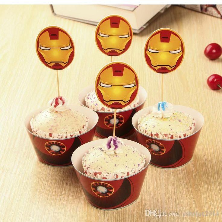 partido decorações evento cupcake wrappers superman, capitão américa cupCake toppers escolhas do aniversário