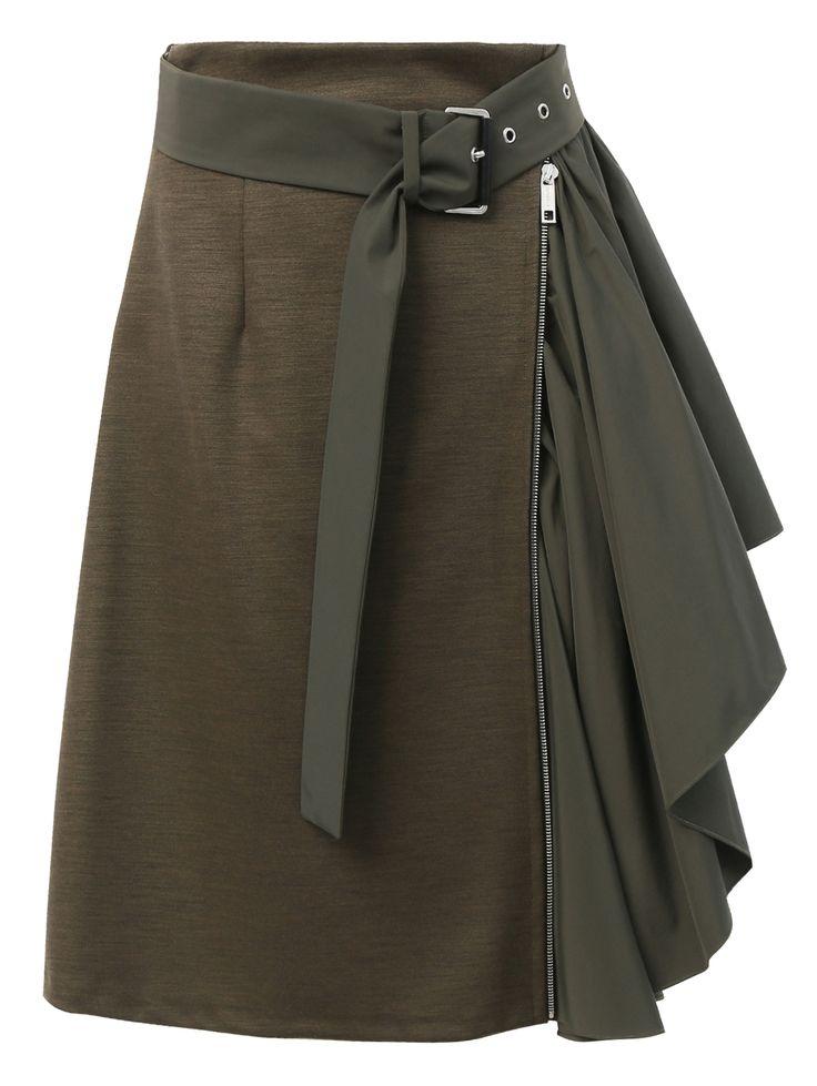 Купить Sportmax болотная юбка из хлопка и нейлона с асимметричной вставкой (318795), цена на юбку в интернет-магазине Bosco.ru – 26 350 руб.
