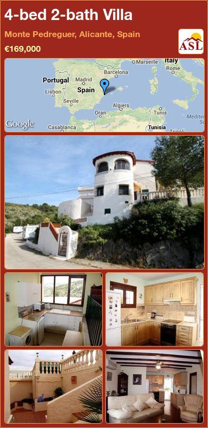 4-bed 2-bath Villa in Monte Pedreguer, Alicante, Spain ►€169,000 #PropertyForSaleInSpain