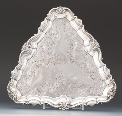 An English Sterling Silver Triangular Salver by William Peaston, London, ca. 1749