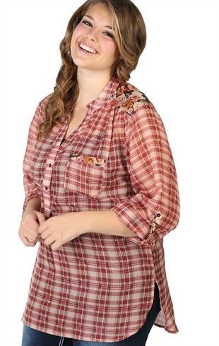 Deb Shops Plus Size #Plaid #Chiffon Button Down Top with Floral Details  $18.67