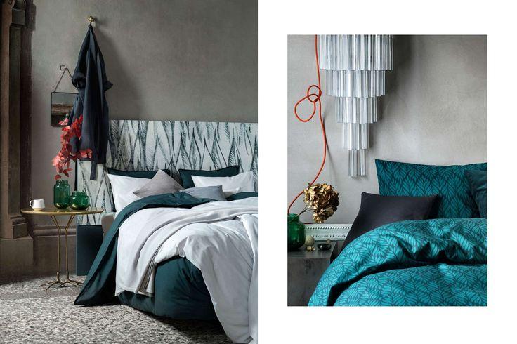 Förvandla sovrummet till ett lyxigt krypin med sängkläder, kuddar och filtar i djupa nyanser och härliga kvalitéer.