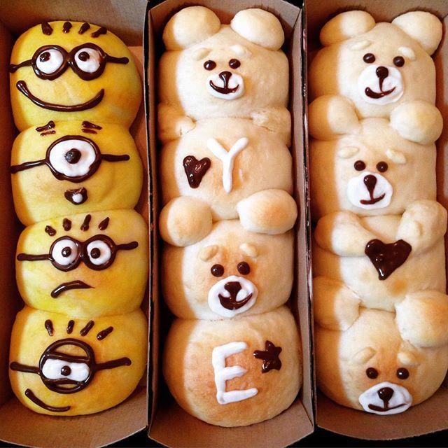 プレゼント用に焼いたちぎりパン♡ ♡tedとミニオン♡ ♡ 喜んでくれるといーな(◍′◡‵◍) #ちぎりパン#パン#手作り#プレゼント#ミニオン#ミニオンズ#TED#ted#はちみつパン#蜂蜜