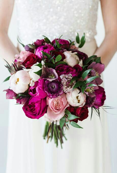 Bridal Bouquet Of Magenta, Fuchsia, Sangria, Red-Violet, & Light Pink Peonies, Garden Roses, Roses, Ranunculus, & Foliage>>>>