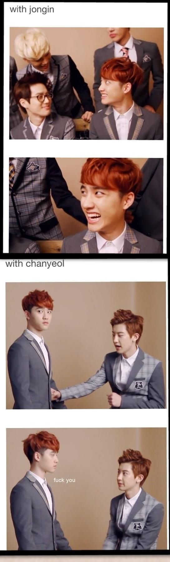 This is so true though. Kai and Chanyeol are on complete opposite ends for Kyungsoo