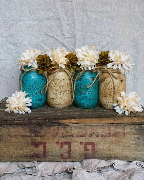 best black designer handbags Rustic Decor  Glass Flower Vase  Distressed Paint Mason Jar  Rustic Flower Vase  Centerpiece  Painted Glass Candleholder  Teal Decor