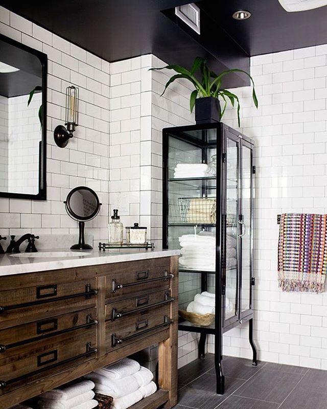 White Bath Inspiration, Black Hexagon Tile And