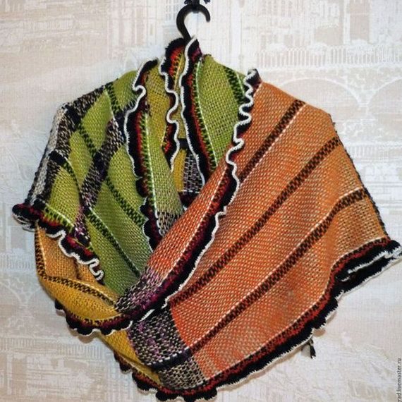 "Scarf ""Solar"". Hand weaving. Wool kauni. Scarf long."
