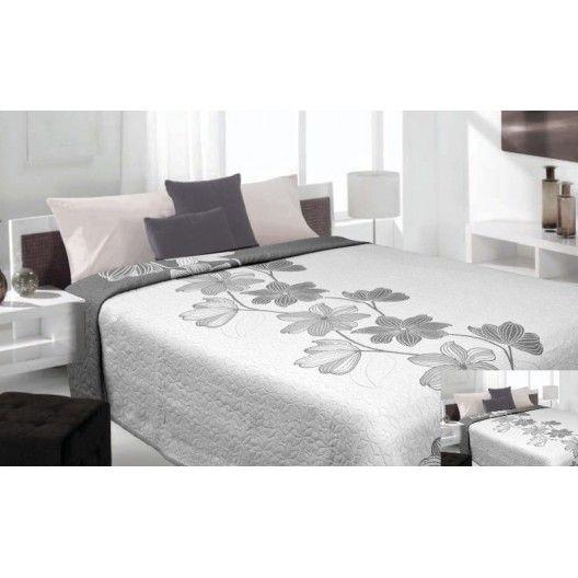 Luxusný obojstranný prehoz na posteľ kremový so vzorom