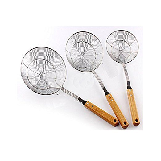 Amazon.com: Premium 18/8 Stainless Steel Mesh Spider Spaghetti Dumpling  Noodle Strainer