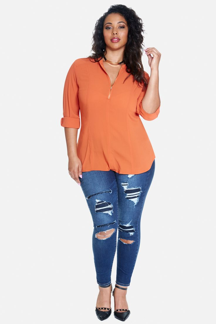Plus Size CeCe Lace-Up Back Top