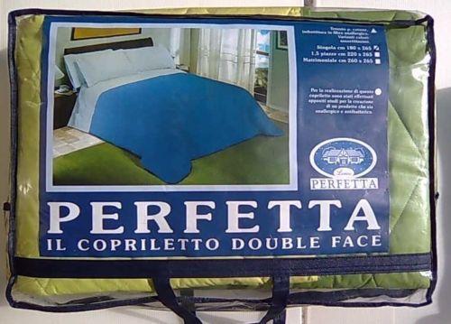 TRAPUNTA COPRILETTO PURO COTONE VERDE SINGOLO 180X265cm DOUBLE FACE ''PERFETTA''