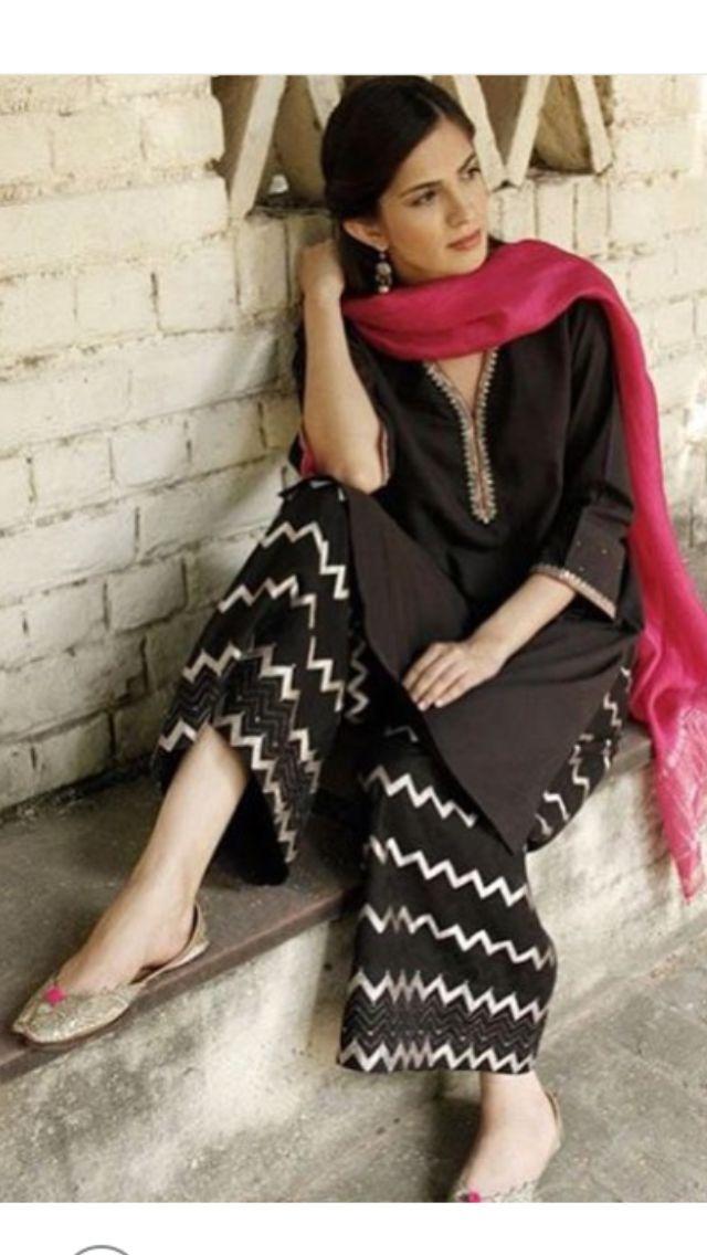 Plain kurta with neck border and printed cotton palazzo and bright dupatta