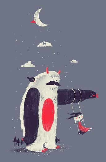 Imaginary Friend, by Joao Lauro Fonte.Design Inspiration, Imaginary Friends, Art Illustration Design, Swings, Fun Illustration, Monsters Illustration, Joao Lauro, Lauro Fonts, The Moon