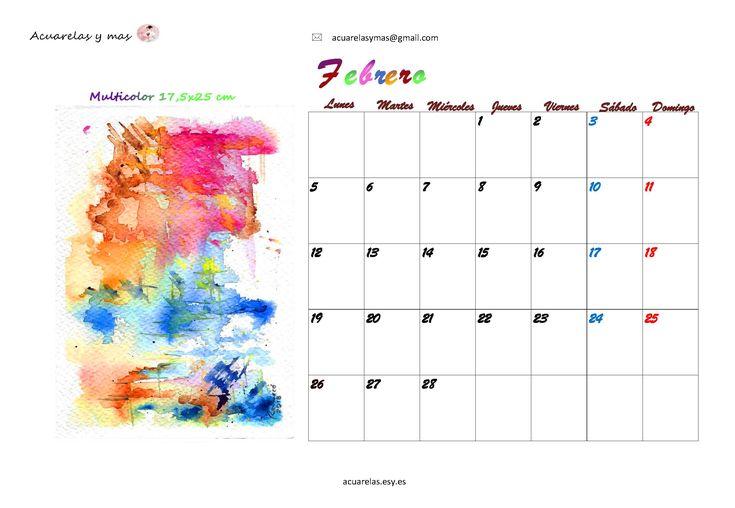 Matices... diferentes mezclándose equilibrados o no, se esparcen y libremente se adueñan del papel en blanco #February #febrero #calendario 2018 #calendar 2018 #watercolor #acuarela #artist #draw #painting #artistas