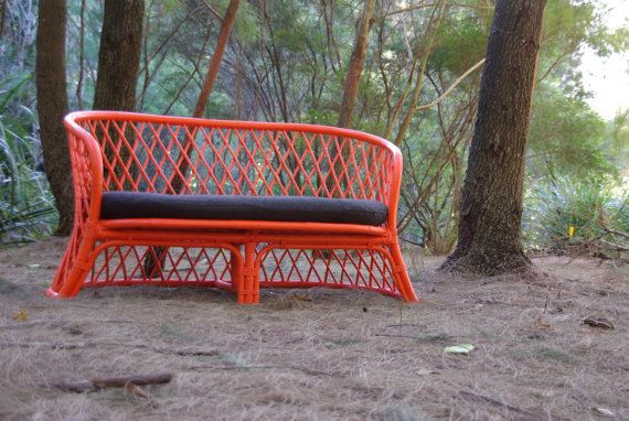 Made to Order -  Upcycled Vintage Cane 2 Seater Chair Ballistic Neon Orange. $351.00, via Etsy.
