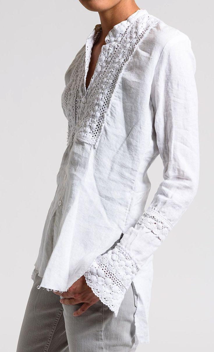 Greg Lauren Linen Eyelet Bib Tux Shirt in White | Santa Fe Dry Goods & Workshop #greglauren #vintage #antique #recycledfashion #upcycledfashion #fashion #clothing #style #shirt #ss17 #spring #summer #santafe #santafedrygoods