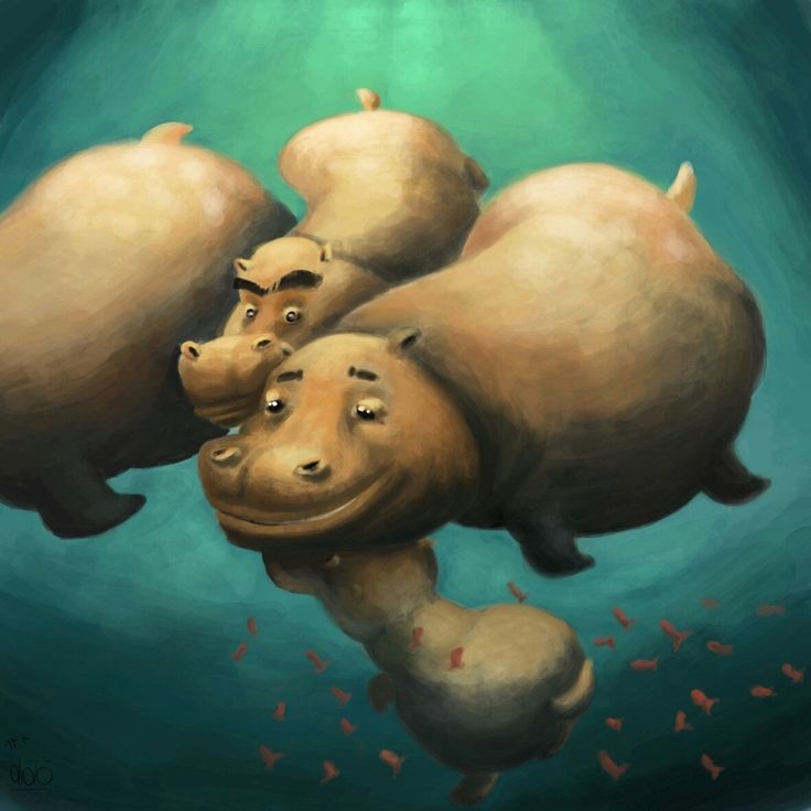 #hippopotamus crowd  #illustration #conceptart #characterdesign