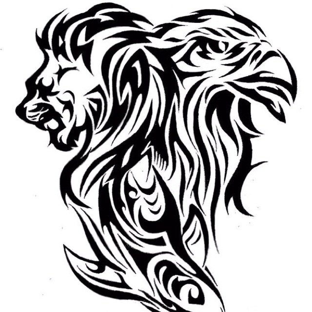 Tattoo Design Of A Lion Eagle And Shark Tattoo Lion