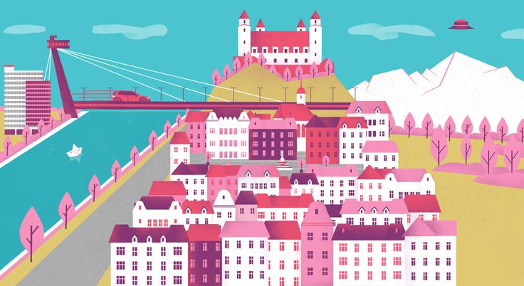 illustration by VERONICA CERRI for Express Kuriér with typical view of Bratislava. http://www.owlillustration.com/