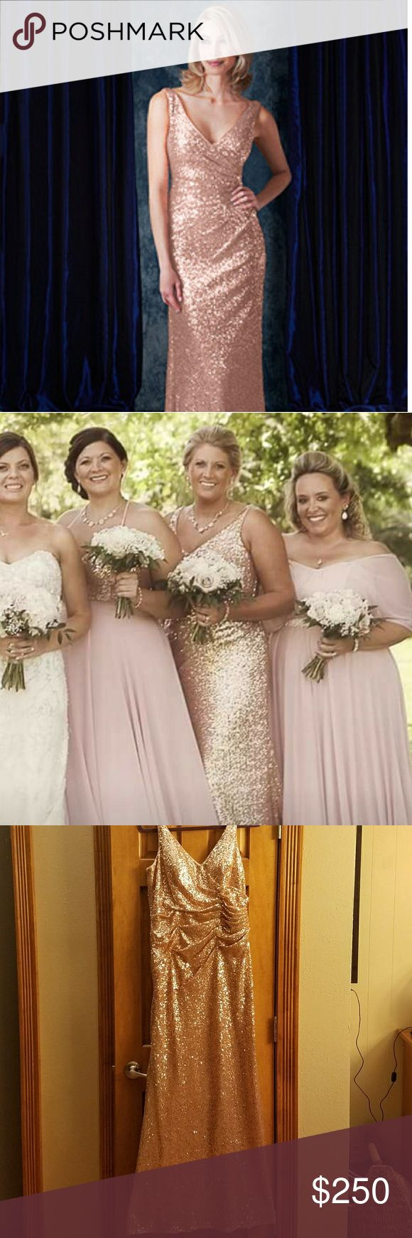 Alfred Angelo Rose Gold Sequin Bridesmaid Dress Alfred Angelo Sapphire Bridesmaid Rose Gold Dress Style 8115L 2017 Collection  All sequins Attached & No Snags Matching Sequin Button Bustle Added to the back to keep the train off the ground after the wedding. Worn for about 4 Hours Paid $343.44 + $50.00 for the Bustle Alfred Angelo Dresses