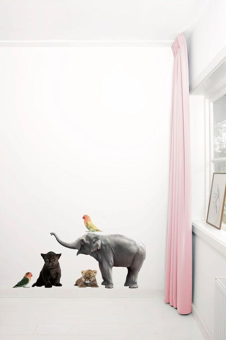 5 muurstickers van een baby olifantje, 2 lovebirds, zwarte panter en luipaard. De muurstickers zijn ideaal om de kinderkamer mee te decoreren.