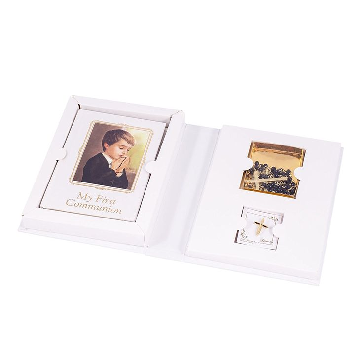 Communion Folder 4 Piece Gift Set for Boy - Includes Prayer Book, Rosary with Box and Pin -- Visit the image link more details. (This is an affiliate link and I receive a commission for the sales)