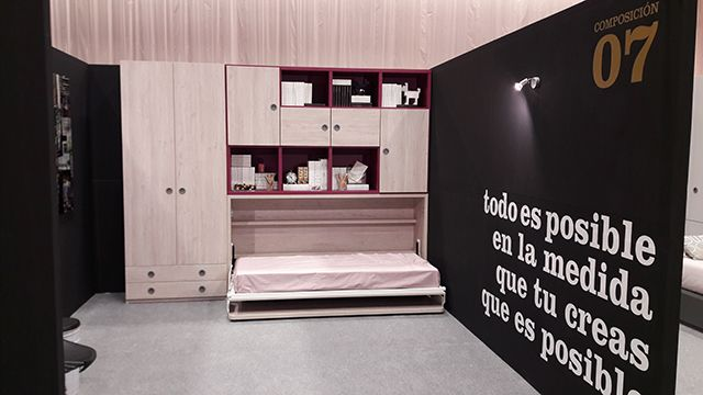 Cama abatible del nuevo catálogo de mueble juvenil OLDSCHOOLKIDS de Muebles Ros.