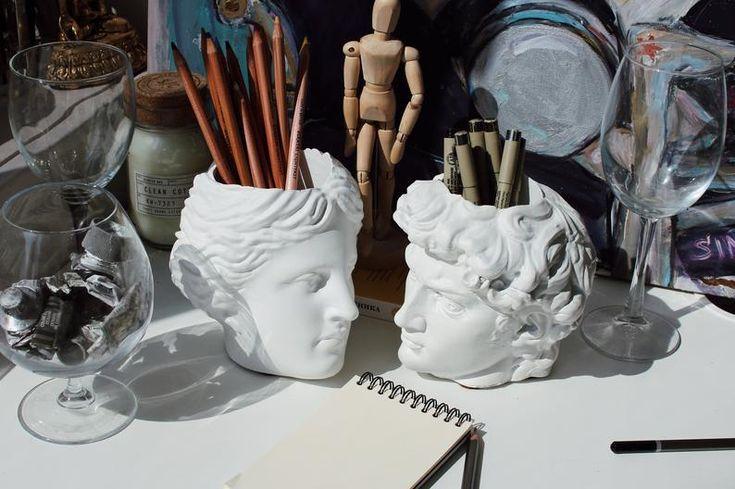 David & Venera Antique Pen Holder Head Office organizer Candle holder Brush holder Pencil holder Desk storage Cup for pens